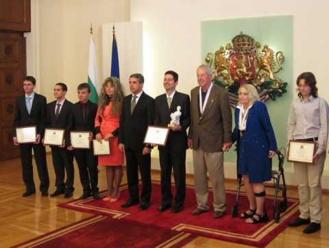 Group photo with John Atanasoff's son and daughter and the President of Bulgaria